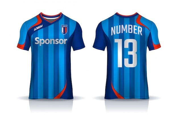 Modello di design sportivo t-shirt, mockup di maglia da calcio per squadra di calcio. vista anteriore e posteriore uniforme.