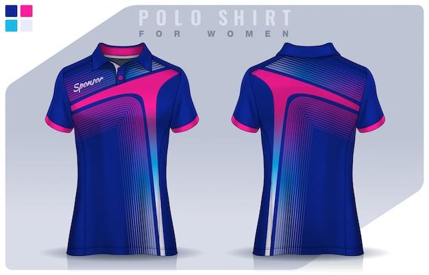T-shirt design sportivo per donna, mockup di maglia da calcio per club di calcio. modello di polo uniforme.