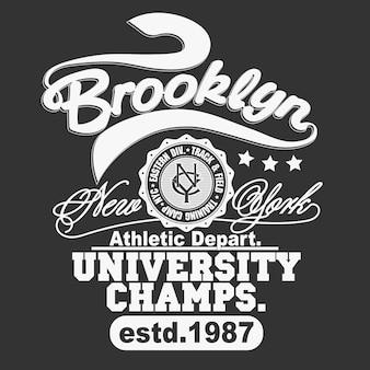 T-shirt grafica con timbro, emblema tipografico di new york sport wear. stampa t-shirt vintage brooklyn, stampa grafica camicia design abbigliamento atletico. vettore