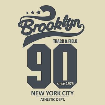 Grafica del timbro della maglietta, emblema della tipografia di new york sport