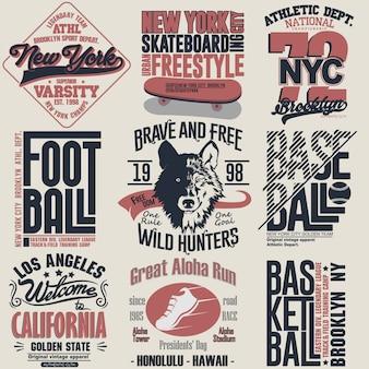 Set grafico timbro t-shirt. emblema di tipografia di abbigliamento sportivo