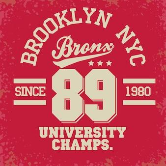 Grafica del timbro della maglietta, emblema della tipografia dell'abbigliamento sportivo di new york city, stampa della maglietta, abbigliamento sportivo.