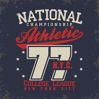 Grafica del timbro della maglietta, emblema della tipografia dell'usura del new york college sport, stampa della maglietta, abbigliamento sportivo.