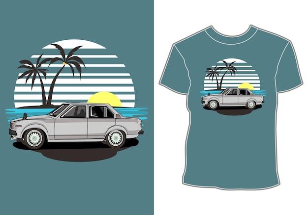 Maglietta estate, auto retrò vintage in spiaggia