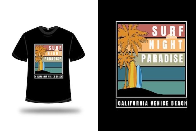 T-shirt surf night paradise california venice beach colore arancio giallo e verde