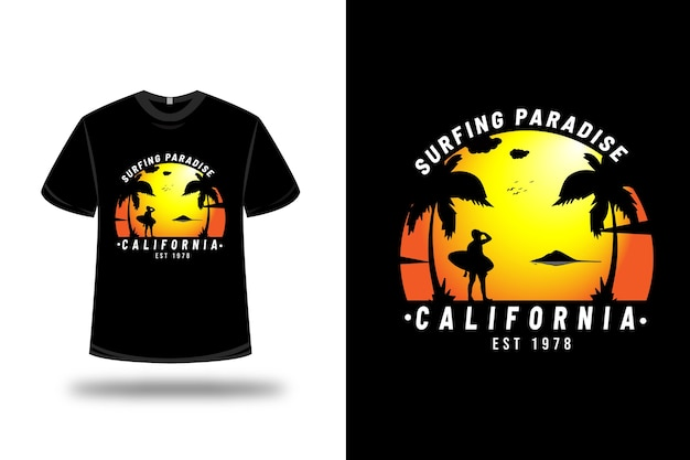 T-shirt surf paradise california est 1978 colore arancio e nero