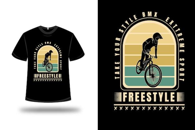 T-shirt prendi il tuo stile bicicletta motocross estremo freestyle colore giallo e verde