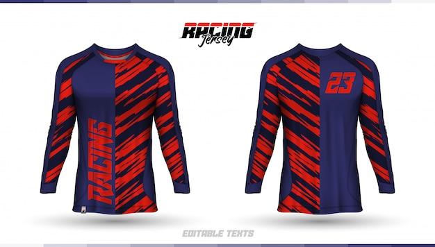 Modello di t-shirt, design della maglia da corsa, maglia da calcio