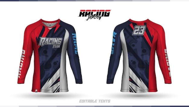 Modello di t-shirt, design della maglia da corsa, maglia da calcio Vettore Premium