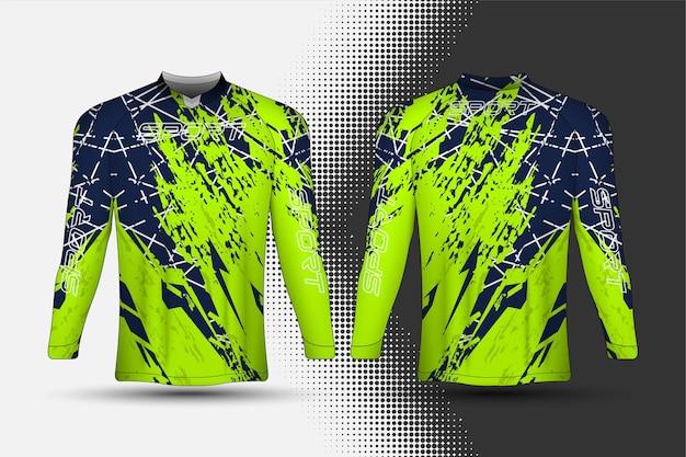 Modello di t-shirt, maglia da corsa sportiva con disegno astratto.