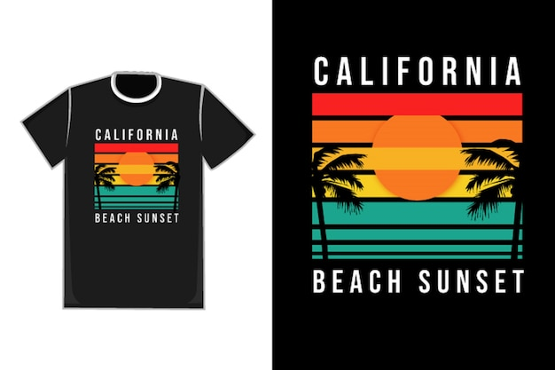 T-shirt title california beach tramonto colore arancio giallo e verde