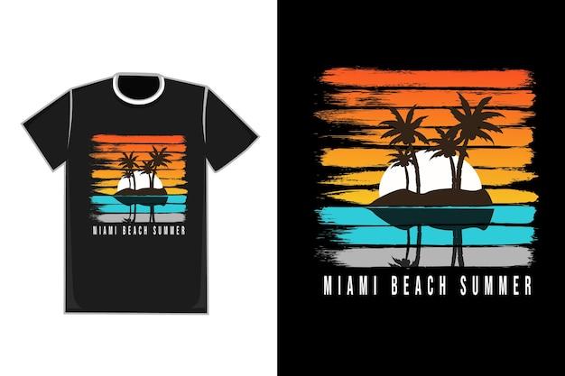 T-shirt titolo miami beach estate colore arancio bianco blu grigio e giallo