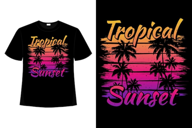 Illustrazione dell'annata di stile della spazzola della palma della spiaggia di tramonto tropicale della maglietta della maglietta