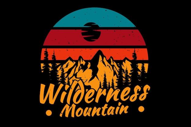 T-shirt deserto montagna pino retrò illustrazione vintage