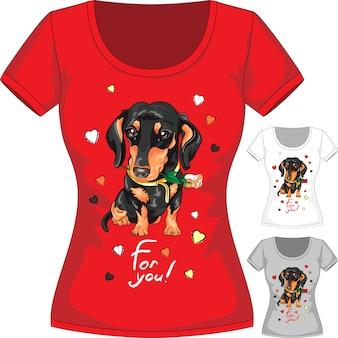 T-shirt con bassotto e fiore