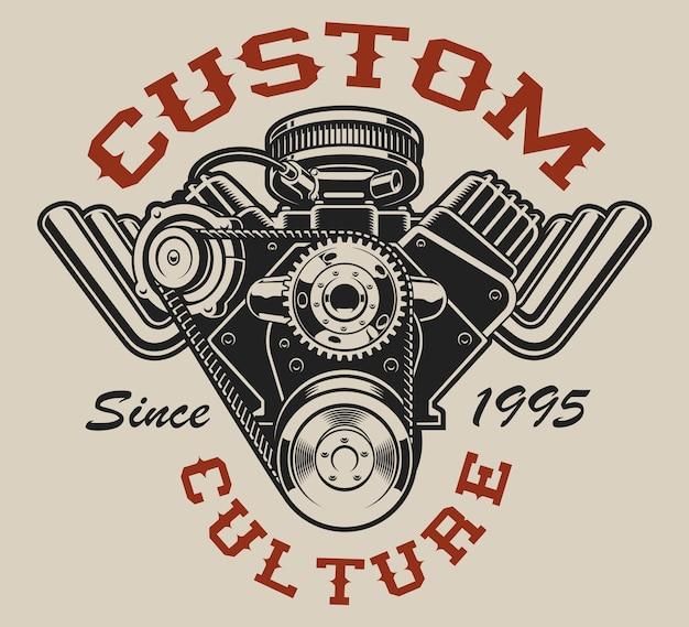 T-shirt con un motore hot rod in stile vintage su sfondo bianco.