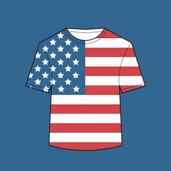 T-shirt con bandiera degli stati uniti giorno dell'indipendenza americana camicie celebrazione 4 luglio concetto illustrazione
