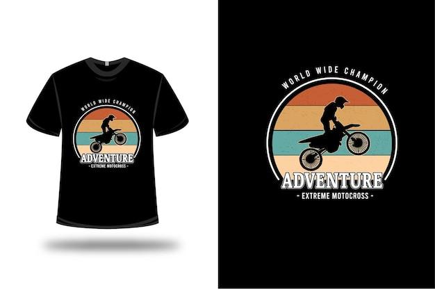 T-shirt world wide champion adventure extreme motocross colore arancio giallo e verde