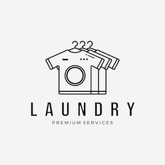 T-shirt logo vector design line art illustration, lavanderia, asciugatura e pulizia