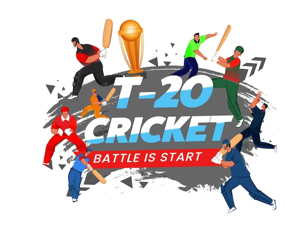 T20 cricket battle è carattere di inizio con giocatore di cricket senza volto di vari paesi, coppa del trofeo d'oro 3d ed effetto pennello grigio su sfondo bianco.