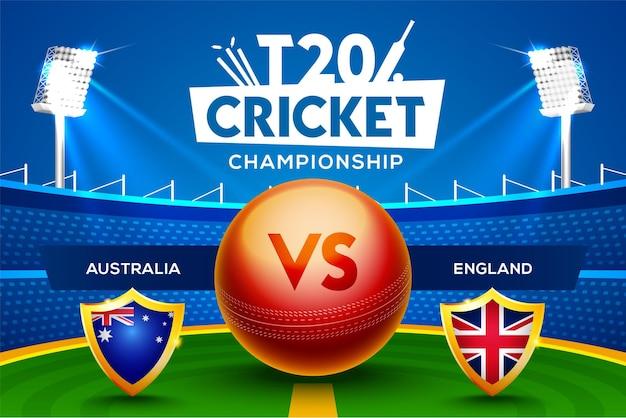 T20 cricket championship concept australia vs inghilterra partita intestazione o banner con palla da cricket sullo sfondo dello stadio.
