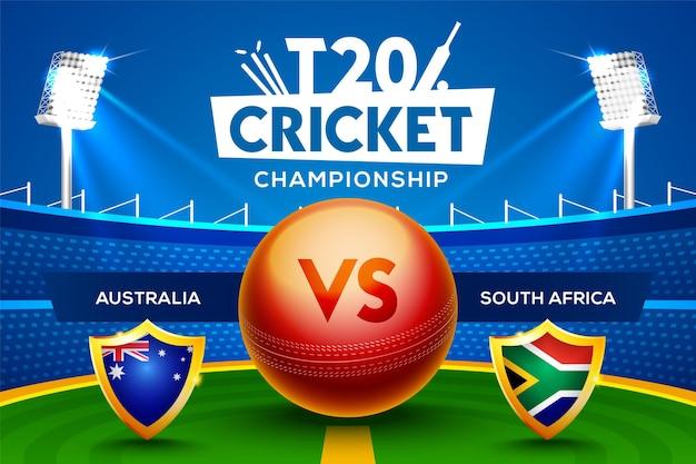 T20 cricket championship concept australia vs sudafrica partita intestazione o banner con palla da cricket sullo sfondo dello stadio.