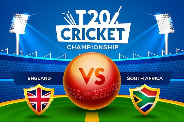 T20 cricket championship concept inghilterra vs sudafrica partita intestazione o banner con palla da cricket sullo sfondo dello stadio.