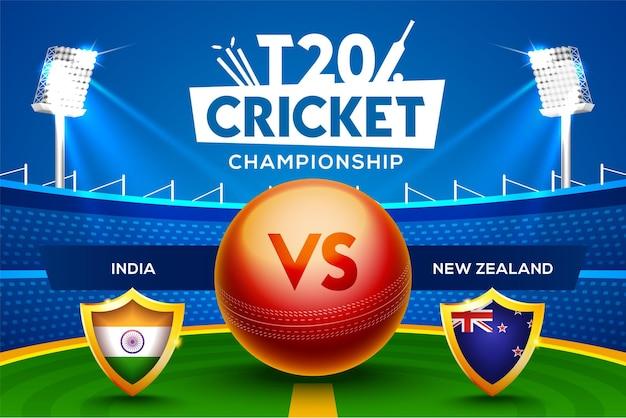 T20 cricket championship concept india vs nuova zelanda partita intestazione o banner con palla da cricket sullo sfondo dello stadio.