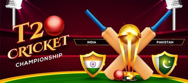 T20 cricket championship concept india vs pakistan match header o banner con palla da cricket, pipistrello e trofeo vincente sullo sfondo dello stadio.