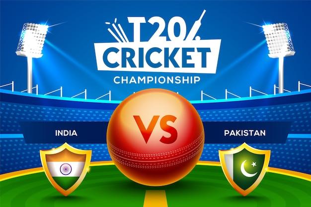 T20 cricket championship concept india vs pakistan partita intestazione o banner con palla da cricket sullo sfondo dello stadio.