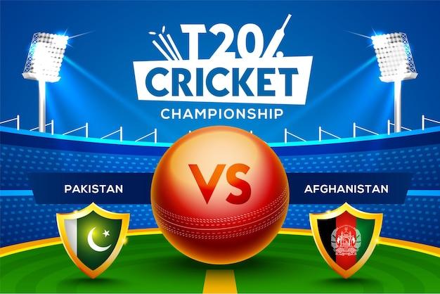T20 cricket championship concept pakistan vs afghanistan partita intestazione o banner con palla da cricket sullo sfondo dello stadio.