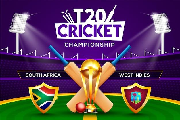 T20 cricket championship concept sudafrica vs west indies match header o banner con palla da cricket, pipistrello e trofeo vincente sullo sfondo dello stadio.