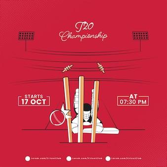 Concetto di campionato di cricket t20 con battitore esaurito o non attaccante sulla vista del parco giochi rosso.