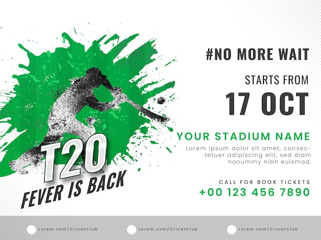 T20 cricket fever è tornato concetto con effetto di dispersione batsman plyer e dettagli della sede su sfondo bianco.