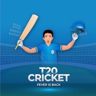 T20 cricket fever è tornato poster design con battitore giocatore in posa vincente su sfondo blu dello stadio.