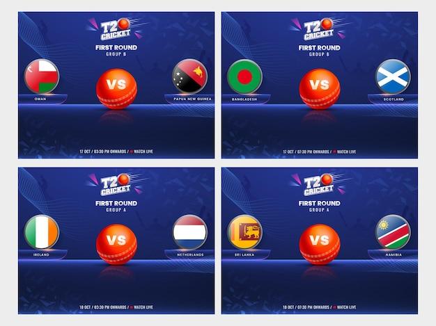 T20 cricket primo turno gruppo a vs b poster design basato con paesi partecipanti bandiera distintivo su sfondo blu in quattro opzioni.