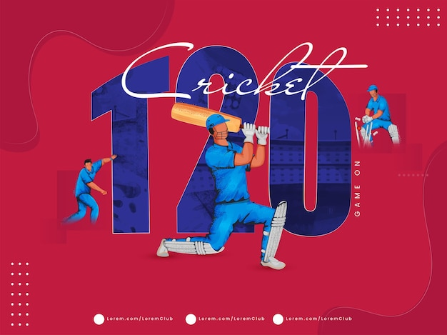 Concetto di gioco di cricket t20 con giocatori senza volto in diverse pose su sfondo rosso.