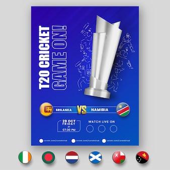 Partita di cricket t20 in corso! volantino con 3d silver trophy cup, giocatori in stile lineare e squadra partecipante dello sri lanka vs namibia.