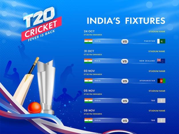 T20 cricket india's calendario calendario poster design con 3d silver trophy cup, pipistrello, palla su sfondo blu onda astratta.