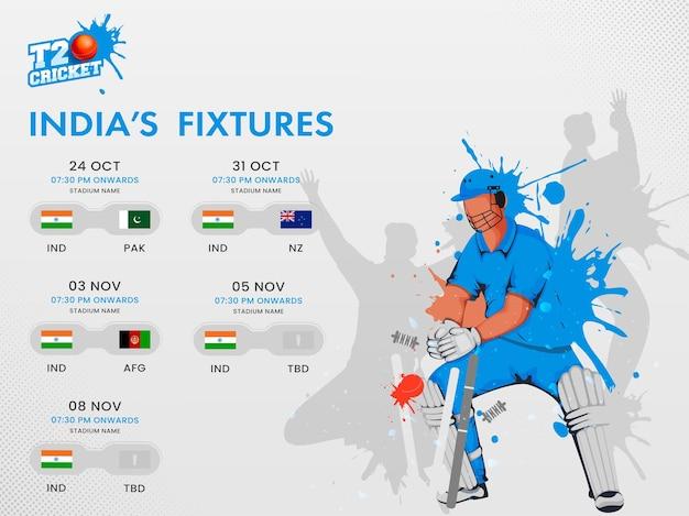 T20 cricket india calendario calendario poster design con paesi partecipanti e custode wicket effetto splash su sfondo grigio.