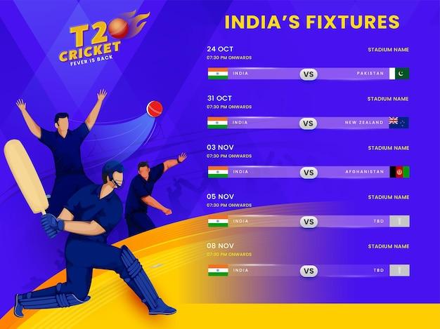 Calendario delle partite di t20 cricket india con giocatore di cricket senza volto su sfondo viola e giallo.