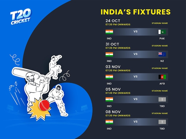 Calendario delle partite di t20 cricket india con giocatore di cricket stile adesivo su sfondo blu e nero.