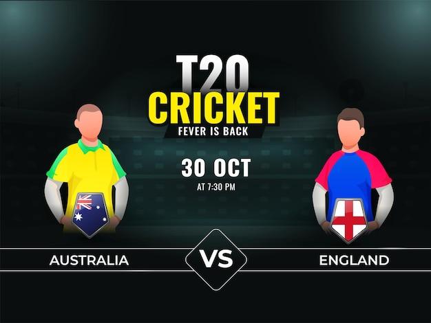 T20 partita di cricket tra australia vs inghilterra con giocatori senza volto su sfondo scuro teal stadium.