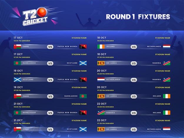 T20 cricket round 1 calendario delle partite su sfondo blu dei giocatori della siluetta.