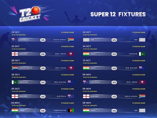 T20 cricket super 12 calendario informazioni su sfondo blu giocatori silhouette.