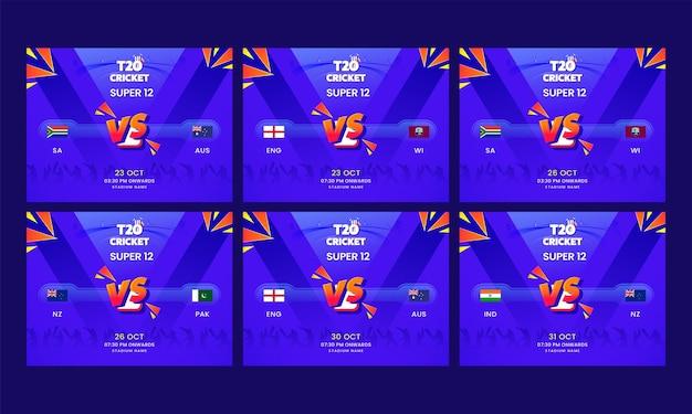 T20 cricket super 12 social media post con i paesi partecipanti team su sfondo astratto viola in sei opzioni.