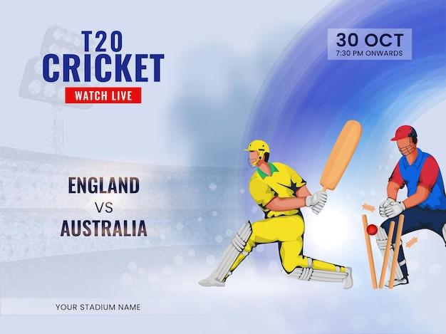 T20 cricket guarda lo spettacolo dal vivo della squadra partecipante inghilterra vs australia con giocatori senza volto.