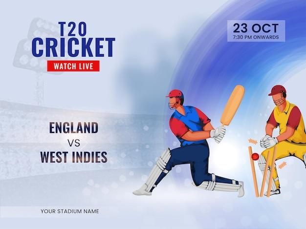 T20 cricket guarda lo spettacolo dal vivo della squadra partecipante inghilterra vs indie occidentali e giocatori di cricket.