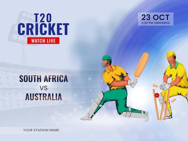 T20 cricket guarda lo spettacolo dal vivo della squadra partecipante sud africa vs australia.