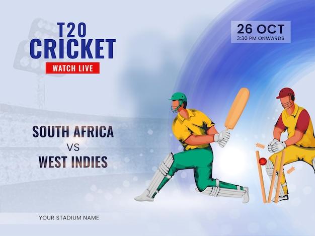 T20 cricket guarda lo spettacolo dal vivo della squadra partecipante sud africa vs indie occidentali.